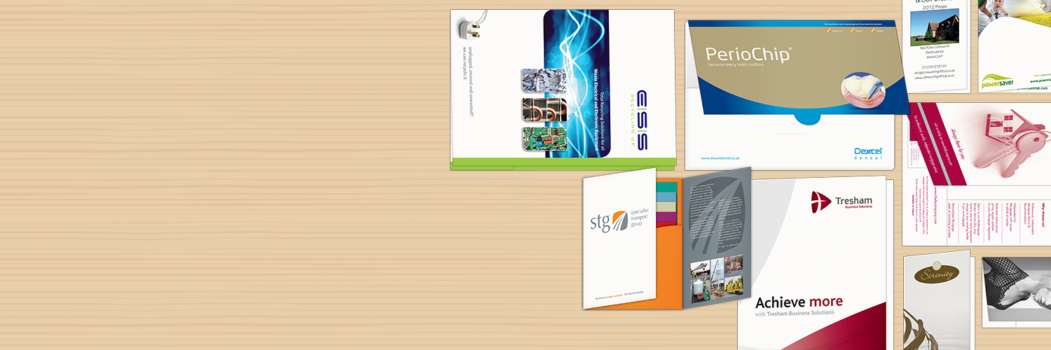 Folders designed and printed, Wellingborough, Northamptonshire