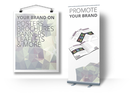 Promote your business with Banners, Brochures, Posters and other materials.
